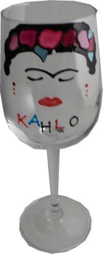 Frida Kahlo Luxe Wijnglas met Kristallen (Gezicht)