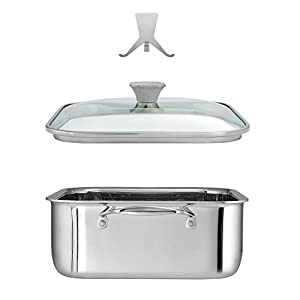 Tramontina Tri-Ply Clad 11 in Stainless Steel Covered Square Roasting Pan
