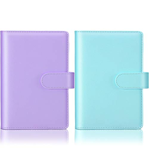 2 Pieces PU Leather Notebook Binder Planner Refillable Ring Binder Cover Loose Leaf Personal Planner with Magnetic Buckle Closure for Filler Paper (Blue, Purple, A5)