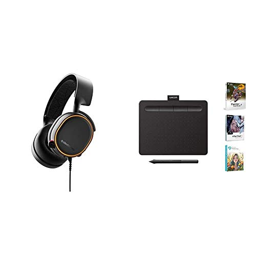 """SteelSeries Arctis 5 - RGB Illuminated Gaming Headset with DTS Headphone:X v2.0 Surround - Black & Wacom CTL4100 Intuos Graphics Drawing Tablet with 3 Bonus Software Included, 7.9""""x 6.3″, Black"""