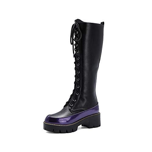 LOVE-HOME Botas Altas De Mujer, Botas Largas Planas con Cordones, Zapatos De Mujer Cómodos Y Modernos De Punta Redonda con Patrón De Serpiente,Negro,39