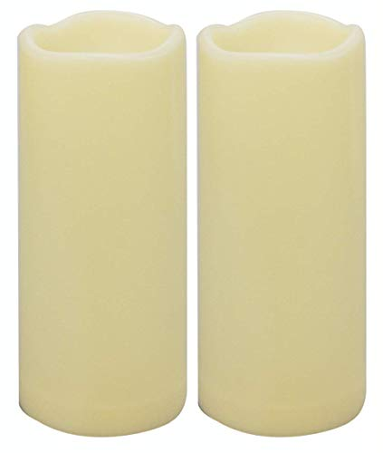 2PCS 7' Waterproof LED Flameless Timer Candles, 1000 Hours Long Battery Life / Flickering Battery Operated Electric Outdoor LED Large Pillar Candle for Outside Lantern Festival Decor etc.