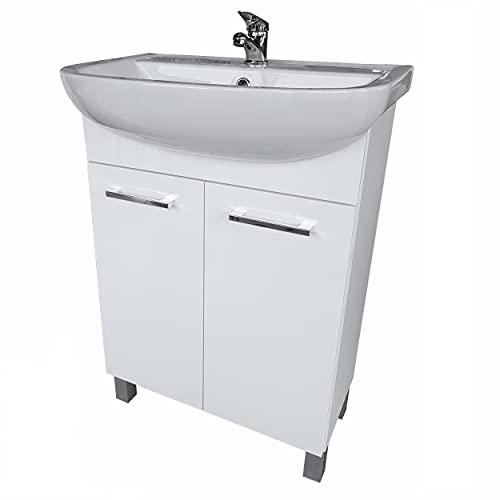 paplinskimoebel Waschbecken mit Unterschrank Lugo 60 cm Stehend mit Waschtischarmatur Waschtisch Badmöbel Set Waschbeckenunterschrank Waschtisch mit Unterschrank