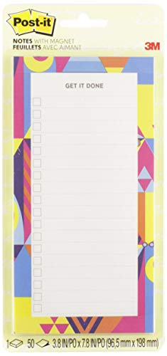 Post-it Super Sticky Printed Note Pads with Magnet, Watercolor, 8x4 in (BC-LIST-WTRCLR )