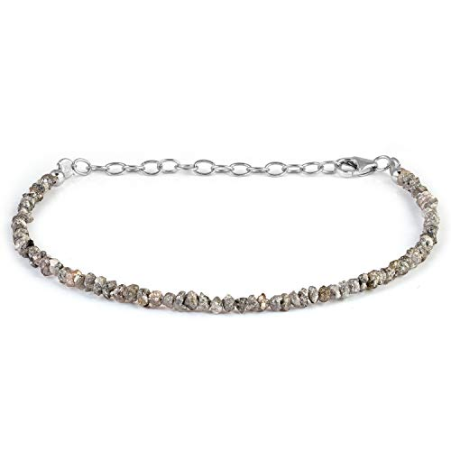 Pulsera de diamantes crudos de 2 a 3 mm, pulsera de diamantes grises, pulsera de diamantes sin cortar, pulseras de diamantes naturales