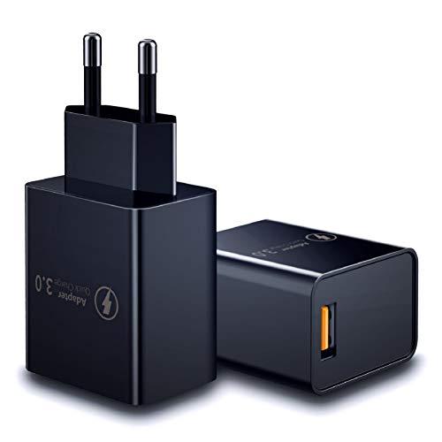 Niluoya Caricatore USB Quick Charge 3.0, 18W Caricabatterie USB Carica Rapida da Muro,Fast Presa Veloce Alimentatore Compatibile per iPhone XR XS Max X,Samsung Galaxy S10 S9 S8, Huawei P30 P40 Xiaomi