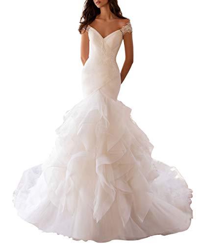 HUINI Brautkleider Lang Meerjungfrau Hochzeitskleider Prinzessin Vintage Brautmode V-Ausschnitt Standesamtkleider Elfenbein 38