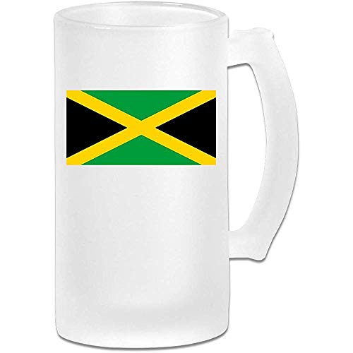 NHJYU Jarra de Cerveza Jamaica Flag DIY Print Glass Beer Water Cup Thermal Mug Teacups for Travel Birthday Party Gift (Frosted Glass)