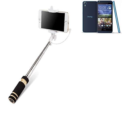 K-S-Trade Für HTC Desire 626G Dual SIM Selfie Stick Selfiestick Kabelgebunden Monopod Mit Kabel Stab Stange Selfportrait Handheldstick Für HTC Desire 626G Dual SIM Schwarz