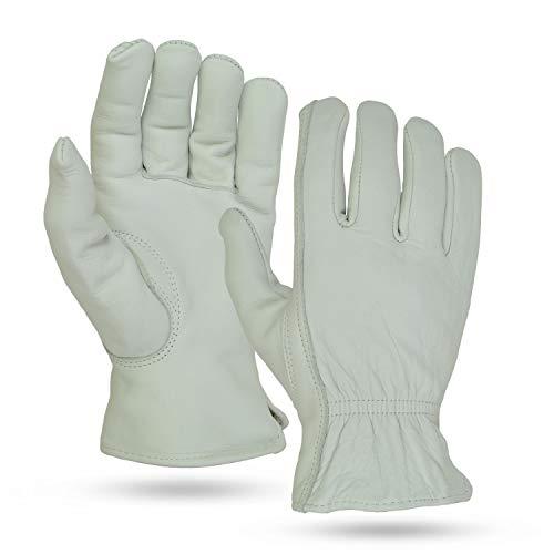Illinois Glove Company 21-2XLB Buffalo Grain Gloves 2XL Palomino Unlined, Premium Grain Buffalo Leather Work Gloves, Keystone Thumb, Shirred Elastic Back, Very Soft & Durable