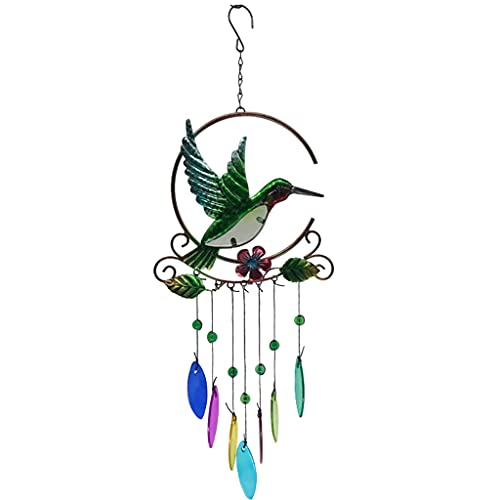 Bingxue Campanas de viento de colibrí de metal portátiles con 7 colores...