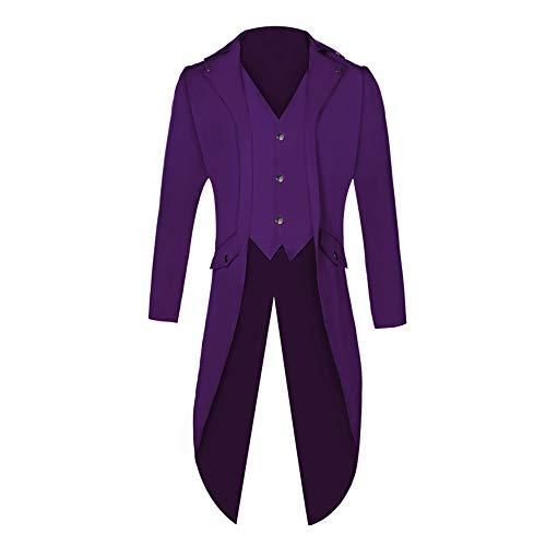Shujin Herren Vintage Frack Steampunk Gothic Jacke Viktorianischen Langer Mantel Fasching Karneval Cosplay Kostüm Smoking Jacke Uniform (Violett, XL)