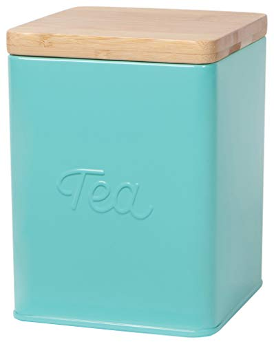 Now Designs Square Tea Tin, Turquoise, Vintage Script Print