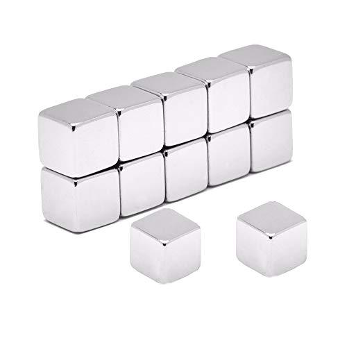 12 Stück Neodym Würfel-Magnete Extra Stark Set,Würfelmagnete für Glasmagnettafeln Kühlschrank Pinnwand Memoboard Whiteboard Schule Lehrer Map,Büro, mit Vorratsbehälter | Silver (10x10x10 mm)