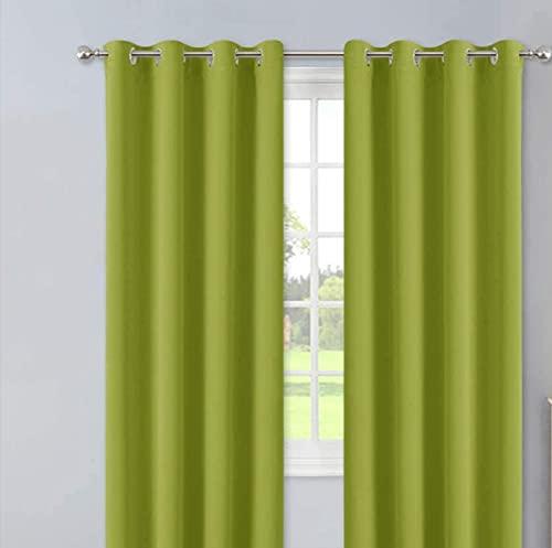 Nuance Paris - Cortina opaca de 1 panel con ojales metálicos, gran ventana para salón o dormitorio, 140 x 260 cm, color verde pistacho