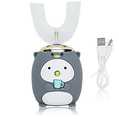 Cepillo de dientes para niños pequeños, Cepillo de dientes suave para el cabello, Cepillo de dientes con ondas sonoras eléctricas para niños(6-12 años Gris)