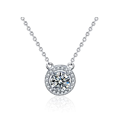 10MM Moissanite Pendant Necklace Sterling Silver Classic Jewelry for Women Graduation Gifts...