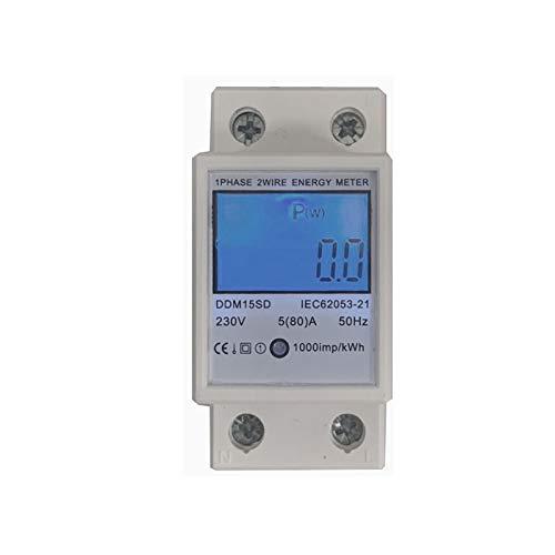 JVJ Wechselstromzähler 5(80) A 230V Stromzähler Hintergrundbeleuchtung 50HZ 1 Phase 2P 2Wire Energiezähler Wattmeter KWH Hutschiene LCD