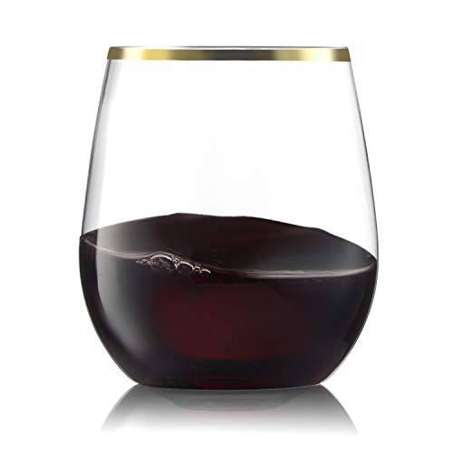32 Pack Stemless Plastic Wine Glasses Disposable 12 Oz Gold Rim - Shatterproof Recyclable and BPA-Free, Stylish Drinkware for all...