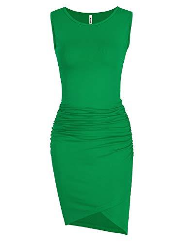 Women's Casual Ruched Bodycon Sundress Irregular Sheath Sleeveless Maternity Fitted T Shirt Dress (Green, Medium)