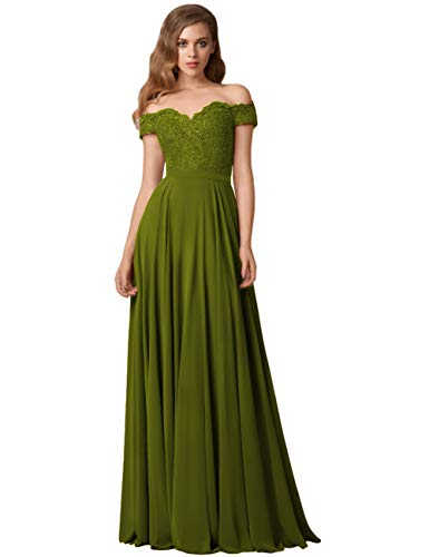 SYYS Women's Cute V-Neck Chiffon Long Bridesmaid Dresses Off Shoulder Formal Evening Dress with Lace Applique Olive Green 20w
