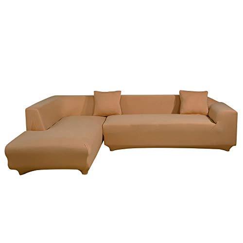 ele ELEOPTION - Funda de sofá elástica, Conjunto de 2 Fundas, para sofá de 3 Personas en Forma de L, Incluye 2 Fundas de cojín, Caqui