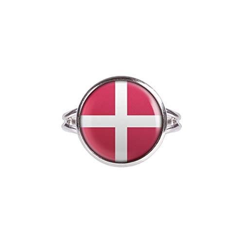 Mylery Ring mit Motiv Dänemark Denmark Kopenhagen Flagge Silber 14mm
