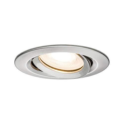 Paulmann 92899 Einbauleuchte LED Nova Einbaustrahler rund Spot IP65 strahlwassergeschützt 7W 1er-Komplettset inkl. GU10 Leuchtmittel Eisen schwenkbar
