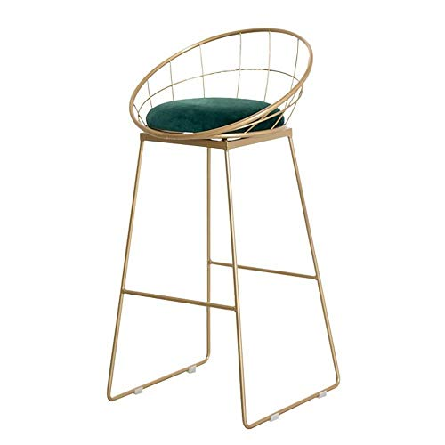BDLYZ Yxsd Moderne tafel stoel met rug- en voetsteunen, hoge barkruk voor keukeneiland, teller, metalen voet en zacht velvet kussen
