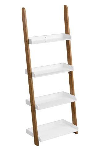 Premier Housewares 2403414 Nostra Étagère d' Échelle avec 4 Niveaux Bambou Blanc Laqué