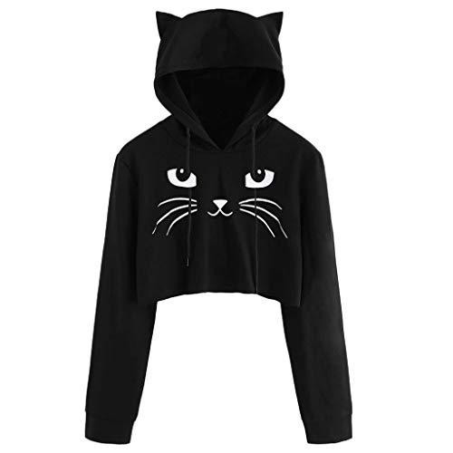 Toodii Women's Synthetic Cat Ear Long Sleeve Hoodie Sweatshirt Hooded Pullover Top Blouse (Black, Medium)