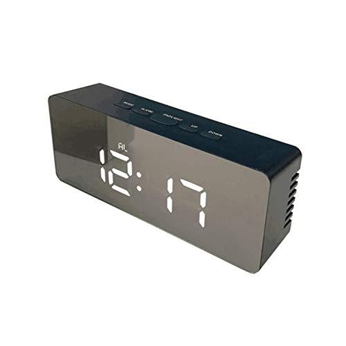XYBB wekker met spiegel, digitale led-tafelklok, elektronisch, met temperatuurweergave, voor thuisdecoratie, 140 x 36 x 55 mm, wit licht