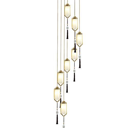 Bradoner Iluminación interior todas las luces de escalera de cobre lámpara larga estilo chino dúplex Villa salón piso giratorio restaurante corredor luces 33 * 210 cm