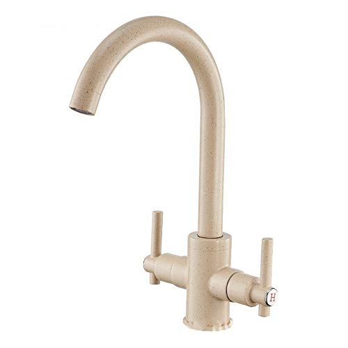 Wasserhahn Doppel Offene Backlack Beige Messing Küchenteller Becken Spüle Waschbecken Heißes Und Kaltes Wasser Wasserhahn.
