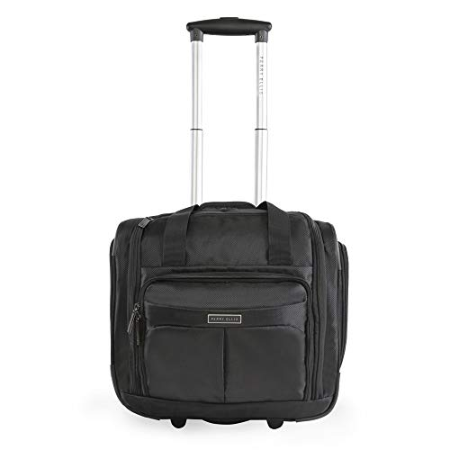 Perry Ellis Men's Excess 9-Pocket Underseat Rolling Tote Carry-on Bag, Black, One Size