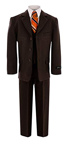 Johnnie Lene JL5014 Brown Pinstripe Suit for Boys from Baby to Teen (16)