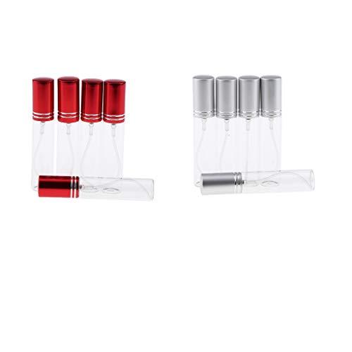 Fenteer 10 Pièces Bouteilles de Parfum Rechargeable Flacons Pompe Vaporisateurs de Parfum en Verre Atomiseur Parfum Rouge + Argent