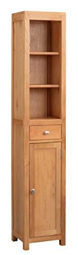 Hallowood Waverly Oak Tall Bathroom Cabinet in Light Oak Finish | Solid Wooden Storage Cupboard | Hallway Storage Unit