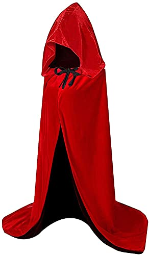 HBselect Velvet Halloween Hooded Cloak Full Length Fancy Dress Cape for Halloween Christmas Grim Reaper Vampire Party Cosplay Robe Costumes for Kids Adults Unisex (Reversible,Black/Red,XL)