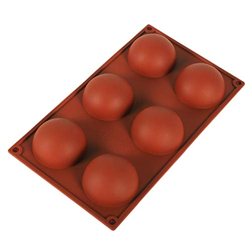 6 Holes Silicone Mold For Chocolate, Cake, Jelly, Pudding, Handmade Soap, Round Shape Half Sphere Mold Non Stick, BPA Free Cupcake Baking Pan