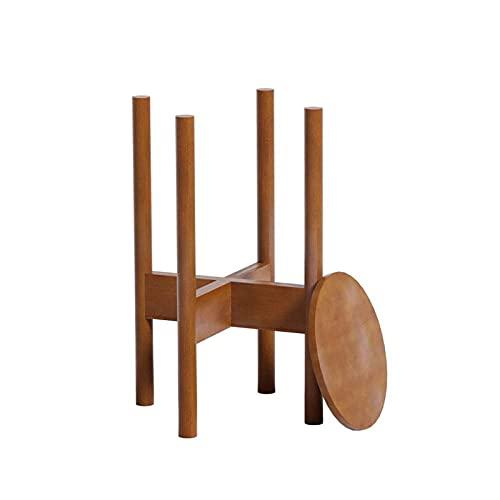 Qks Soporte de Planta de bambú Ajustable con Bandeja Moderna Madera Soporte de Flores Soporte Aplicar a Inicio Indoor Office Office StoreFront Garden Patio Restaurant Cafe