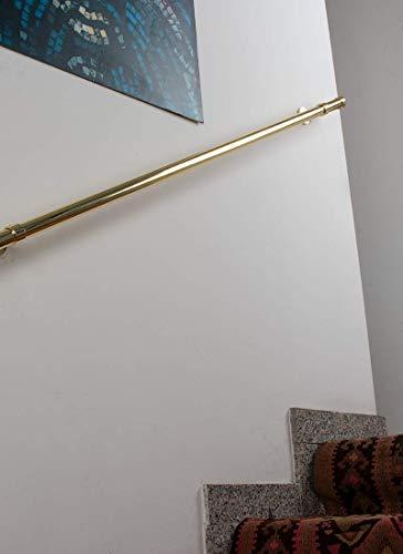 Main courante: diamétre 28 mm, L. 200 cm. en laiton poli débit de 130 kg – complet
