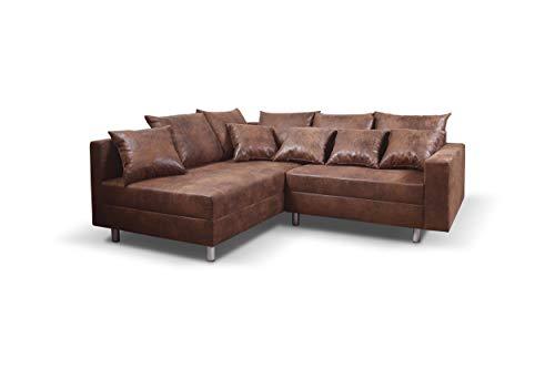 Küchen-Preisbombe Wohnlandschaft Sofa Couch Ecksofa Eckcouch Mikrofaser braun mit Hocker Minsk L