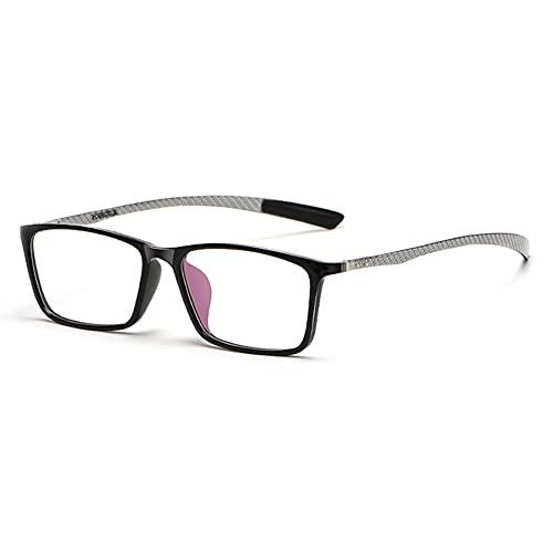 EYEphd Gafas de Lectura Anti-Azules de Enfoque múltiple progresivas Inteligentes para Hombres, Lentes de Marco TR rectangulares clásicos Aumento +1.0 a +3.0,Plata,+2.5