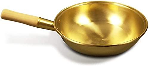 Sartén de Cobre Puro Wok Ollas de Cobre Sartén de Mango de Madera Espesa Sartén de latón Utensilios de Cocina