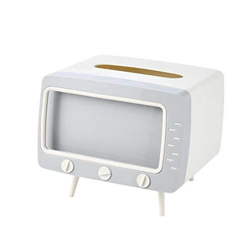 DDZHE Caja de Pañuelos, Caja de Almacenamiento Multifuncional Creativa con Forma de TV - con Soporte para Teléfono Móvil, Dispensador de Pañuelos Faciales Rectangular (Rosado)