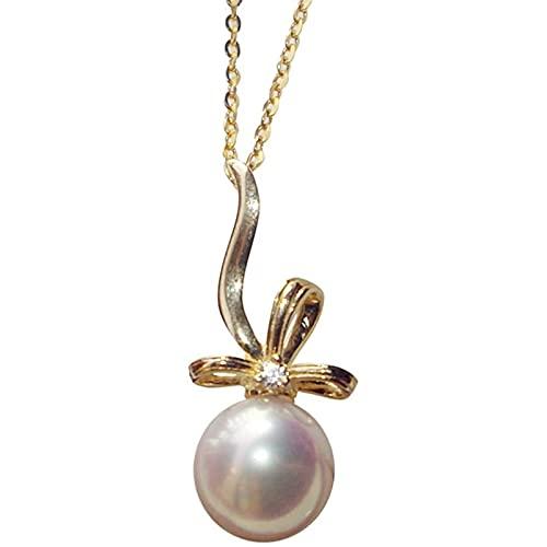 Blanco Perla Colgante para Mujeres Plata De Ley 925 / Oro De 18 Quilates Cadena Collar, Aniversario Joyas para Esposa Regalos para Madre/Novia (Color : 7.5~8MM, Tamaño : Chain~18K Gold)