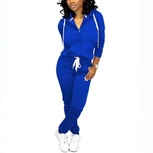 Nimsruc Jogging Suits for Women 2 Piece Tracksuit Long Sleeve Casual Hooded Zipper Pants Set Blue L
