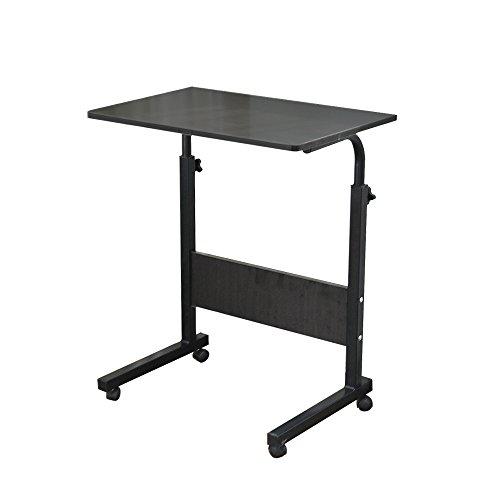 sogesfurniture Mesa Portátil Ordenador Ajustable con Ruedas, 80 * 40cm Mesa sofá Mesa de Escritorio para Cama o Sofá, Negro 05#1-80BK-BH