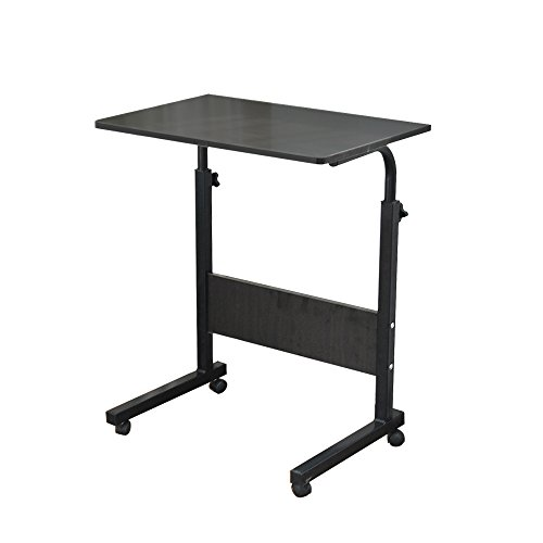 DlandHome Laptop Stand Adjustable 60 * 40cm Computer Standing Desk Movable w/Wheels, Portable Side Table for Bed Sofa Hospital Reading Eating, ZS-5#1 Black